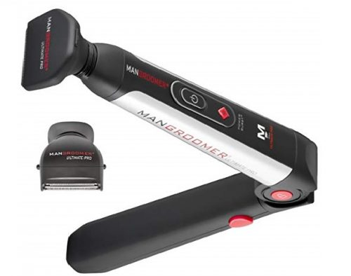 2. MANGROOMER Ultimate Pro Back Shaver with 2 Shock Absorber Flex Heads, Power Hinge