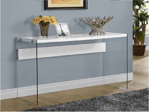 2.Monarch-specialties-I-3288-Console-Sofa-Table-Tempered-Glass-Glossy-White-44L