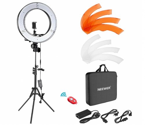 2.Neewer-Ring-Light-Kit1848cm-Outer-55W-5500K-Dimmable-LED-Ring-Light-Light-Stand-Carrying-Bag-for-CameraSmartphoneYouTubeSelfPortra