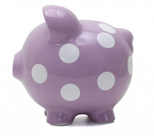 3. Child to Cherish Ceramic Polka Dot Piggy Bank for Girls, Purple