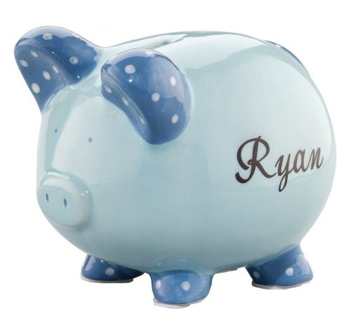 4. Personalized Ceramic Kids Piggy Bank by Miles Kimball - Blue
