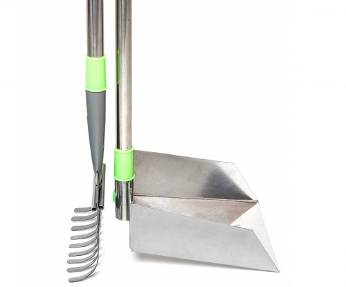 4.Woof-Paw-Pooper-Scooper-Sturdy-Metal-Bin-And-Rake-Set-With-LONG-Telescoping-Stainless-Handles-Adjustable-to-40-No-Bending-Over-Best-Scoop-For-Tall