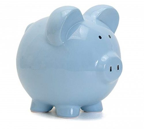 5. Child to Cherish Ceramic Piggy Bank for Boys, Blue
