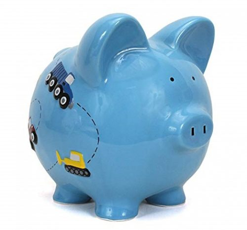 6. Child to Cherish Ceramic Piggy Bank for Boys, Construction Trucks, Blue