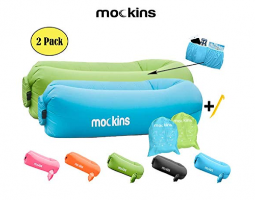 6. Mockins 2 Pack Blue Green Inflatable Lounger Hangout Sofa Bed with Travel Bag Pouch The Portable Inflatable Couch Air Lounger is Perfect for Music Festivals