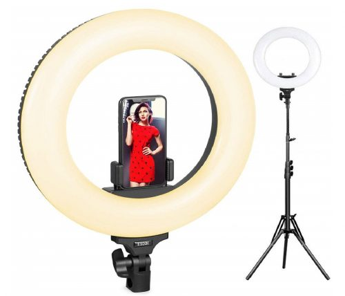 6.Ring-Light-ESDDI-14inch-Outer-Adjustable-Color-Temperature-3200K-5600K-with-Stand-YouTube-Makeup-Dimmable-Video-LED-Light-Kit-Phone-Adapter-for-Video