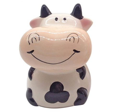 8. ZCHING Cute Cow Ceramic Piggy Bank Personalized Money Saving Bank for Kids Girls Boy Nursery Gift (black)