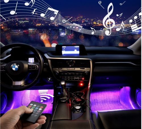 8.Car-LED-Strip-Light-ONEKA-RGB-4pcs-48LED-Multicolor-Music-Car-Interior-Lights-Under-Dash-Lighting-Waterproof-Kit-With-Sound-Active-Function-and-Wireless