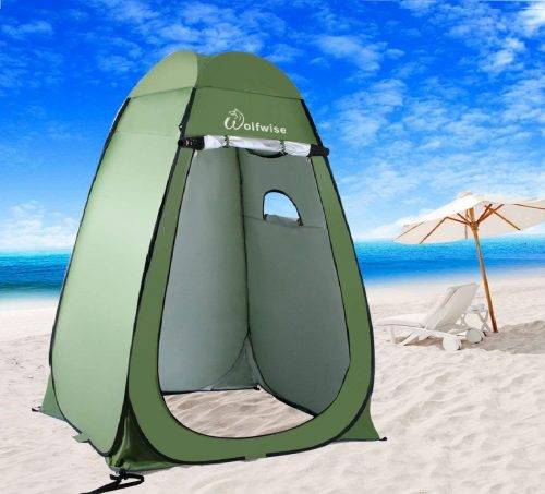 4.WolfWise-Shower-Tent-Privacy-Portable-Camping-Beach-Toilet-Pop-Up-Tents-Changing-Dressing-Room-Outdoor-Backpack-Shelter-Green