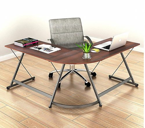 SHW L-Shaped Home Office Corner Wooden Cheap Computer Desk, Top Rated Solid Wood Table
