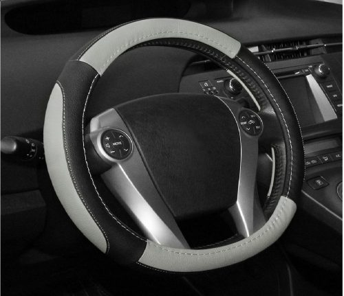 12.SEG-Direct-Black-and-Gray-Microfiber-Leather-Steering-Wheel-Cover-for-Prius-Civic-14-14.25