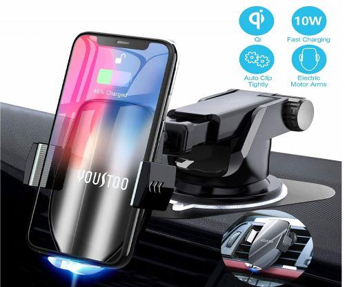 12.YOUSTOO-Wireless-Car-Charger-Mount-Automatic-Sensing-Clamping-Car-Mount-Holder-7.5w-10w-Qi-Fast-Charging-Car-Phone-Holder-Compatible-with-iPhone-Xs-Xs.