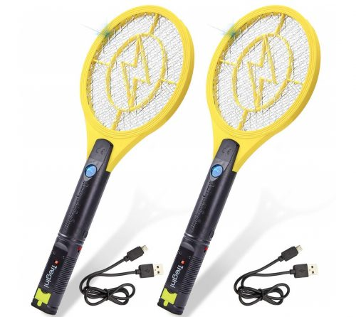 14.Tregini-Mini-Electric-Fly-Swatter-2-Pack-–-Rechargeable-Bug-Zapper-Tennis-Racket-with-Safe-to-Touch-Mesh-Net-and-Built-in-Flashlight-Kills-Insects-Gnats.