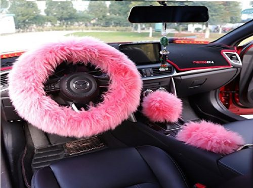 2.Yontree-Winter-Warm-Faux-Wool-Handbrake-Cover-Gear-Shift-Cover-Steering-Wheel-Cover-14.96x-14.96-1-Set-3-Pcs-Pink