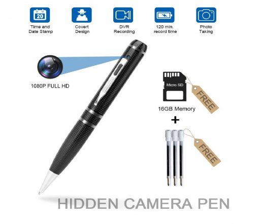 3.Hidden-Camera-Pen-RecorderFUVISION-Button-Camera-with-Photo-Taking2-Hours-Battery-LifePortable-Digital-Recorder-with-16GB-Memory-and-3-Ink-Refills-Pocket