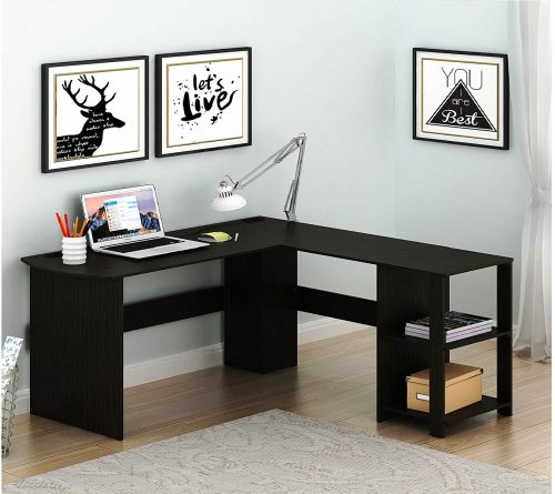 SHW L-Shaped Home Office Wooden Computer Desk with Shelves