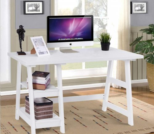 Tangkula Real Wooden Small Computer Desk with Shelves