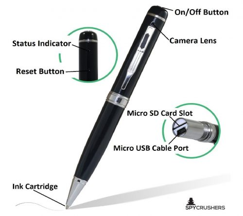 5.1080p-Hidden-Spy-Pen-Camera-Video-Recorder-Features-Video-Photo-and-Webcam-Function-Includes-16GB-SD-Card-Adapter-4n1-Card-Reader-10-Ink-Refills