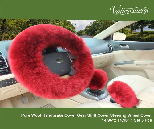 6.Valleycomfy-Fashion-Steering-Wheel-Covers-for-Women-Girls-Ladies-Australia-Pure-Wool-15-Inch-1-Set-3-Pcs-Wine-Red
