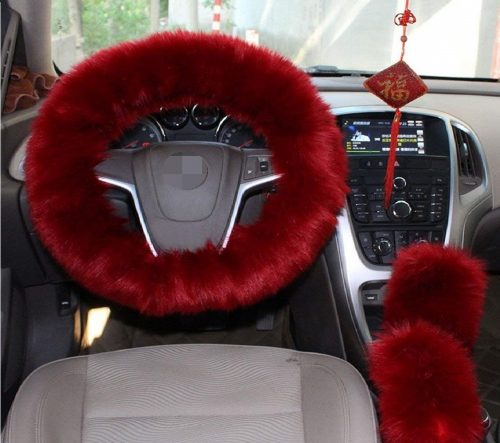 9.1-Set-3-Pcs-Steering-Wheel-Cover-Faux-Wool-Hand-Brake-Set-Warm-Winter-Wine-Red