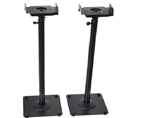 1.VideoSecu-2-Heavy-duty-PA-DJ-Club-Adjustable-Height-Satellite-Speaker-Stand-Mount-Extends-26.5-to-47-i.e.-Bose-Harmon-Kardon-Polk-JBL-KEF-Klipsch- Best Bookshelf Speaker Stands