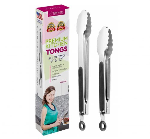 10. Tongs for Cooking and Salad Tongs for Serving - Metal Utensil Set of 2 Tongs 9, 12 Inch