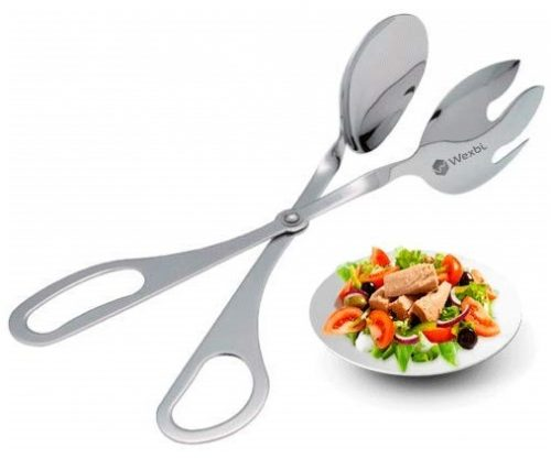 11. Wexbi Salad Tongs, Tongs for Cooking, Stainless Steel Salad, Bread, Desserts, Kitchen Tongs