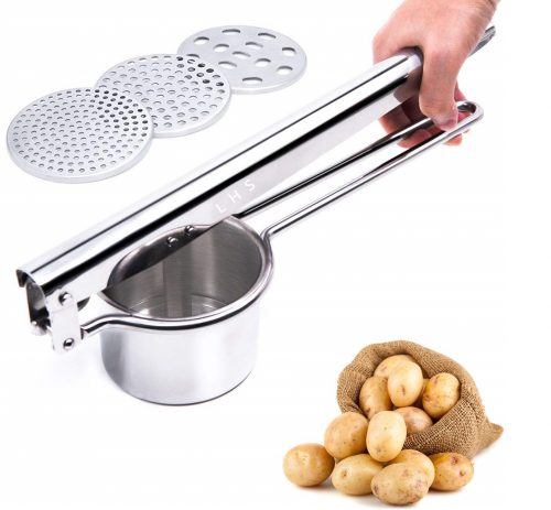 15. Stainless Steel Potato Ricer Masher with Good Grip Handle and 3 Interchangeable Discs for Fine, Medium