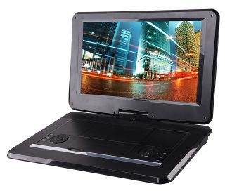 1. Sylvania 15.6-Inch Swivel Screen Portable DVD Player with USB & SD Card Slot & Rechargeable Battery