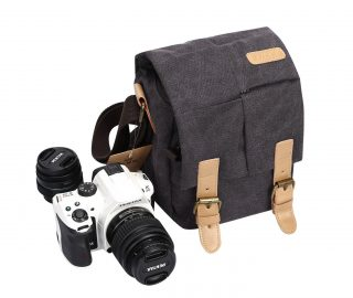 1.S-ZONE Vintage Small Waterproof Canvas Leather Trim DSLR SLR Shockproof Camera Shoulder Messenger Bag