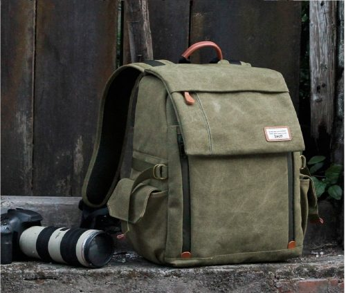 10.Camera Backpack Zecti Waterproof Canvas Professional Camera Bag for Laptop and Other Digital Camera Accessories with Rain Cover-Green