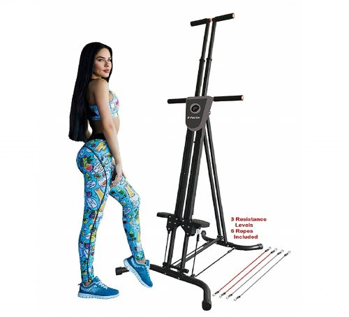 11.X-Factor Vertical Climber Stepper Climbing Stairs Exercise with 3 Resistance Levels and Monitor holds 300 LB