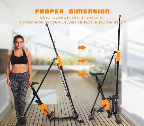 5.ANCHEER Vertical Climber Folding Exercise Climbing Machine, Exercise Equipment Climber for Home Gym, Stair Stepper Exercise for Home Body Trainer (Orange)