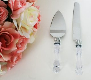 6.Lolasaturdays Wedding Party Cake Knife Server Set with Faux Crystal Handle and diamond accents
