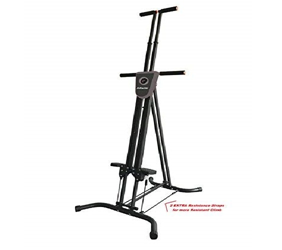 6.Vertical Climber Cardio Exercise X-Factor with monitor and resistance straps for smooth climbing