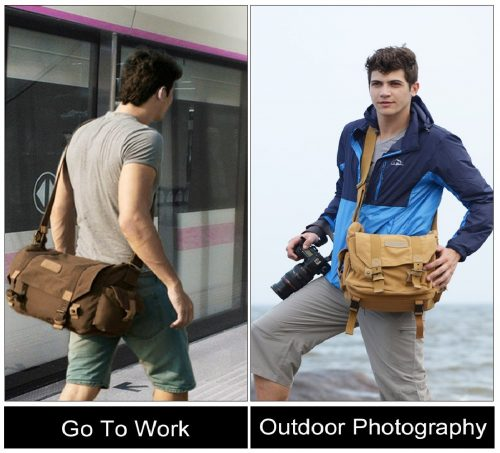 7.CADeN Lightweight Waterproof Canvas DSLR SLR Shockproof Camera Shoulder Messenger Bag Compatible for Canon Sony Nikon