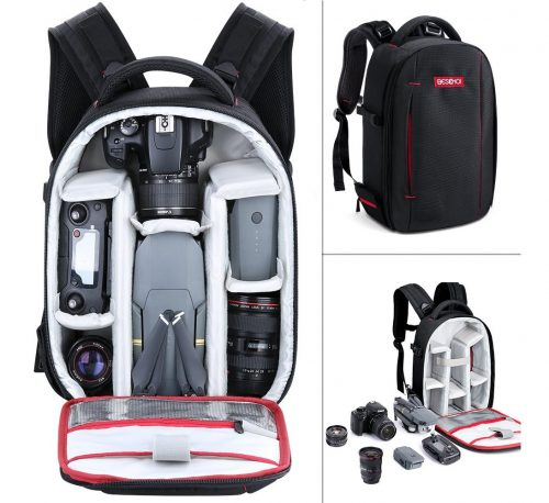 8.Camera Backpack, Beschoi Waterproof Lightweight DSLR Camera Bag for DSLR SLR Camera, Speedlite Flash, Tripod, Camera Lens and Accessories, Size 13 x 9.8 x 5.5