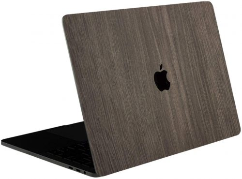 10. SOJITEK Brown Wood Texture 4 in 1 Full Size 360° Protector Skin Decals Sticker MacBook Pro 13 Inch