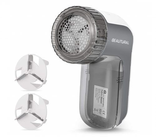 10.BEAUTURAL Fabric Shaver and Lint Remover, Sweater Defuzzer with 2-Speeds, 2 Replaceable Stainless Steel Blades, Battery Operated,