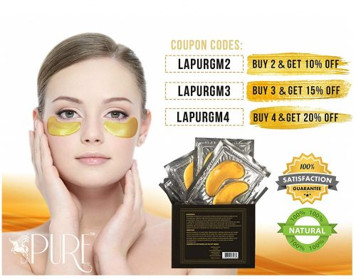 1.LA PURE 24K Gold Eye Treatment Masks - Under Eye Patches, Dark Circles Under Eye Treatment, Under Eye Bags Treatment, Eye