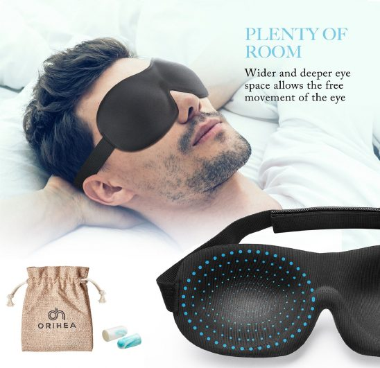 10.OriHea Eye Mask for Sleeping, Sleep Mask for Men and Women, Patented Design 100% Blackout Sleep Mask Comfortable Eye Mask Blindfold, Black