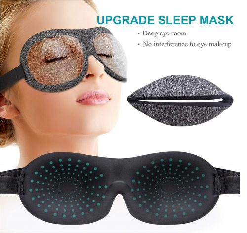 11.Sleep Mask, 3D Contoured Sleep Eye Mask, Comfortable & Super Soft Sleeping Mask with Adjustable Straps for Women, Men, Luxury Pattern Eye Mask