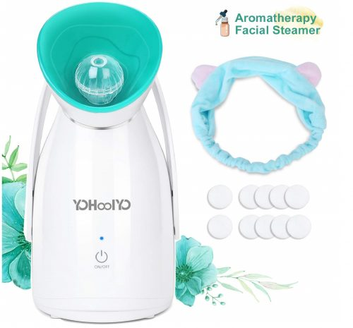 12.YOHOOLYO Aromatherapy Facial Steamer Warm Mist Spa Face Steamer Moisturizing Humidifier Atomizer with Essential Oil Box, Cotton Piece and Head Band
