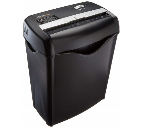 2.AmazonBasics 6-Sheet Cross-Cut Paper and Credit Card Home Office Shredder