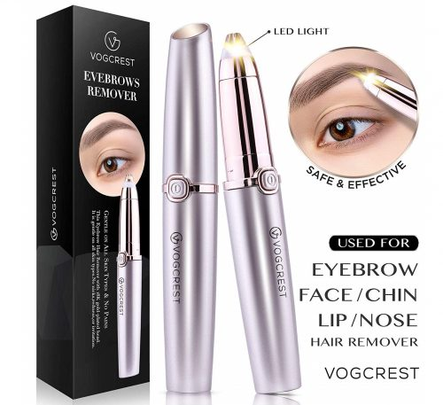 4.Eyebrow Hair Remover, Vogcrest Electric Painless Eyebrow Trimmer Epilator for Women, Portable Eyebrow Hair Removal Razor with Light - Rose Gold