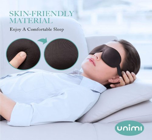 4.Unimi Sleep Mask for Woman and Man, Upgraded Contoured 3D Eye Mask Eye Cover, Comfortable Sleeping Mask No Pressure On Your Eyeballs, Create Total Darkness -Black