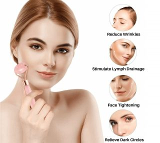 5.Original Jade Roller for Face and Gua Sha Set - Rose Quartz Roller - Face Roller, Real 100% Jade - Face Massager for Wrinkles, Anti Aging - Authentic