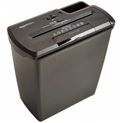 6.AmazonBasics 8-Sheet Strip-Cut Paper, CD and Credit Card Home Office Shredder