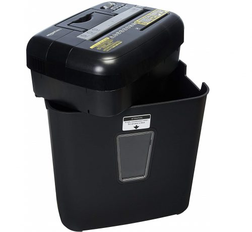 7.AmazonBasics 12 Sheet Cross-Cut Paper CD Credit Card Shredder