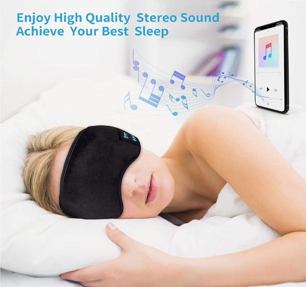 7.Bluetooth Sleeping Eye Mask Sleep Headphones, Joseche Wireless Bluetooth Headphones Music Travel Sleeping Headset 5.0 Bluetooth Handsfree Sleep